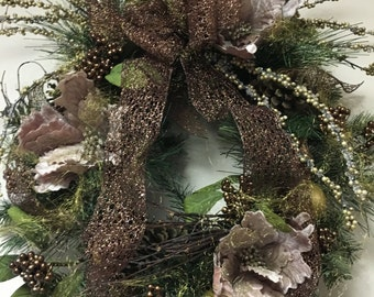 Designer Hoiiday Wreath with shades of copper, bronze and gold