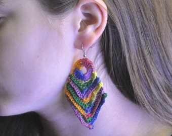Crochet Multi-color Arrowhead Earrings