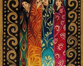 Her Secrets 5x7 Blank Greeting Card Fine Art Print Pagan Mythology Art Nouveau Bohemian Goddess Art