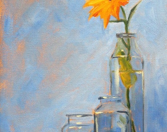 Blue Still Life Oil Painting, Yellow Orange Flower, Glass, Kitchen Decor,Wall Art, Original Floral Design, 9x12 Canvas, Bottles, Bloom