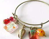 Charm Bracelet with handmade glass charms- Fused Glass charms - Saffron and Red Bangle  - Autumn Lovelies - Dichroic Glass - Lampwork Bead