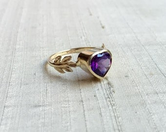 SALE Amethyst and 14kt Yellow Gold- The Fire Leaf Ring