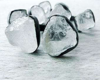 Raw crystal ring | Rock Quartz ring | Crystal quartz ring | Crystal quartz multistone ring | Rock quartz crystal statement ring