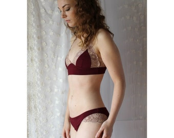 bamboo panties with lace trim - CATHEDRAL lingerie range - made to order