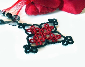 CLEARANCE Gothic Tatted Necklace - Medieval - Katherine in Black and Red