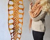 Hand felted scarf --- merino wool --- handmade art --- orange ginger yellow  --- Autumn Leaf