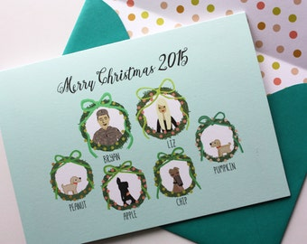 NEW- Custom Illustrated Christmas Card Portraits (Profiles) in Wreaths