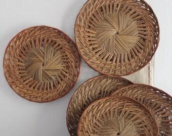 Vintage Large Boho Rattan Wall Basket