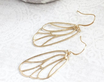 Gold Wing Earrings Filigree Earrings Modern Lightweight Dangle Boho Chic Gold Bridal Jewelry Bird Angel Butterfly Faerie Fairy Gift for Her