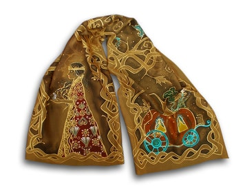 Fantasy scarf with Cinderella and pumpkin, illustration of medieval fairytale, elven, painted scarf, golden, brown, gold, once upon a time