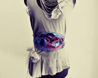 boho gypsy belt Textile art sash belt wide belt obi upcycled denim wearable art