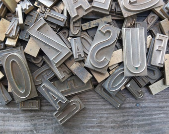SMALL - Vintage Brass Printing Press Letters / Brass Letterpress Letters / Brass Typesetting Letters