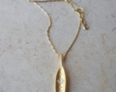 Olive Leaf Pendant in 18k Solid Gold with Diamonds . Gold Leaf Necklace . Handcrafted Fine Jewelry . Long Bar Pendant . Gold Olive Leaf