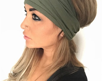 Olive Scrunch Headband, Extra Wide Headband, Turban Headband, Extra Wide Jersey Headband, Boho Headband, Boho head wrap (women, teen girls)