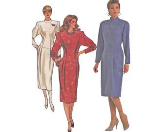 1980s Dress Bust 34,-38 Vintage Designer Butterick Sewing Pattern 4069 Drop Waist Sheath with High Neck Dolman Sleeve