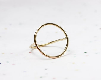 Minimalist Circle Ring - Geometric Ring - Jeweler's Brass or Silver - Floating Ring