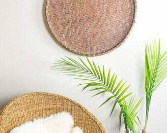 Round Wicker Tray / Bohemian Wall Decor / Bohemian Wall Art / Earthy Decor / Bohemian Decor