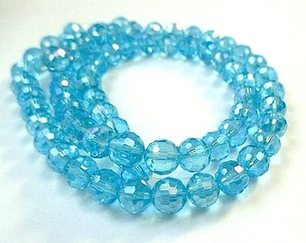 Aqua Beads, 8mm Blue Crystals, Aquamarine Glass Round Beads, Aqua Blue Glass Crystals, Faceted Beads, Faceted Glass Beads - 36 Pieces SP662