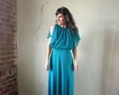 70s blouson maxi gown// small