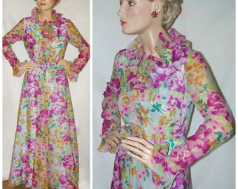 Frilly Floral Chiffon Gown . Vintage Ruffles . 1960s Formal Dress . Henry Lee