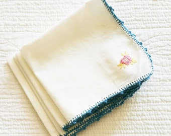 Vintage Cottage Home Heirloom White and French Blue Floral Embroidered Table Napkins, Set of Four, Olives and Doves