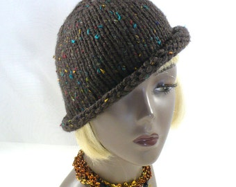 Hand Knit Rolled Brim Hat: Brown Tweed Bucket Hat, Twenties Style Hat, Handmade in the USA, Vegan Hats, Ready to Ship