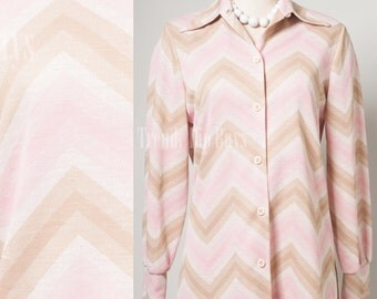 Mod top, Mod 60s top, Vintage Pink top, Vintage chevron top, Mad Men top - M
