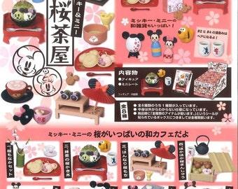 2015 / Full Set Of 8 / Re-ment / Mickey & Minnie / Sakura Chaya / Dollhouse Miniatures Collectibles / Dessert / Foods