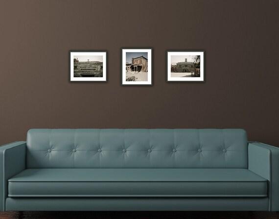 Rustic Farmhouse Decor, Set of 3 Fine Art Photographs, Western Wall Art, US Postoffice, Blacksmith, 8x10, Gray Brown, 50% Discount Sale