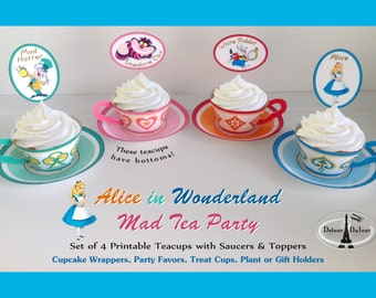 1/2 OFF 50 SALE -Alice in Wonderland Party Tea Cups AW-011 Alice in Wonderland Party Favors, Alice in Wonderland Cupcake Wrappers, Alice Tea