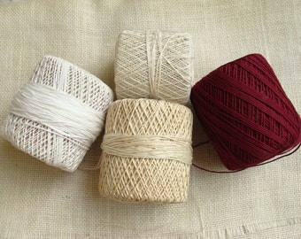 Crochet cord lot - maroon, white, off-white, cream - spool lot, ball lot - destash yardage - primitive, rustic, country crafts