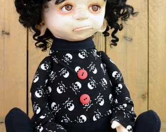 ooak gothic art doll CHARLOTTE artist doll cute handmade doll black collectible clay doll one of a kind dolls by Lina's Four O'Clock Friends