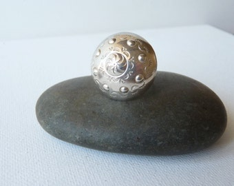 Sterling Silver Big Round Ring Dome Ring Button Statement Ring Vintage Stylish 925 Silver, Big Ring,Size 8.75, Boho Jewelry, Retro Ring 70's