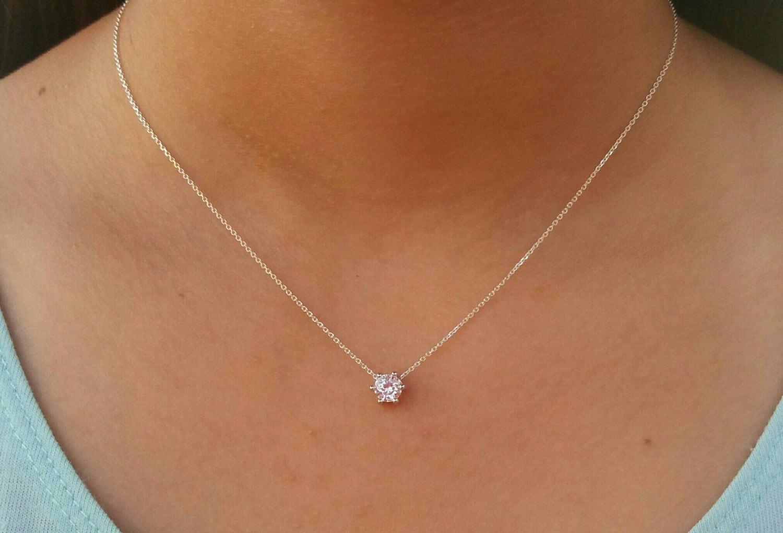 floating diamond necklace single diamond by. Black Bedroom Furniture Sets. Home Design Ideas