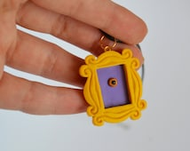FRIENDS tv show inspired- Yellow peephole frame pendant  from polymer clay - Made to order