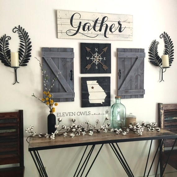 Gather sign rustic gather sign wood gather by elevenowlsstudio for Room decor signs