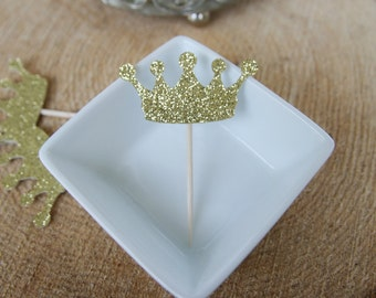 Large Gold Princess Crown Glittery Cupcake Toppers |  Princess Cupcake Toppers |  Princess Birthday Party Cupcakes (Set of 12)