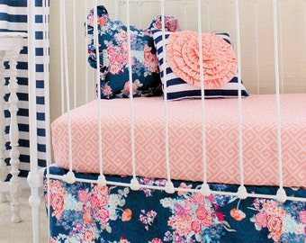 Navy Floral Crib Bedding / Baby Girl Bedding / Coral and Navy Baby Bedding /Bumperless Crib Set/Stripe Floral Bedding/Girls Navy Bedding Set