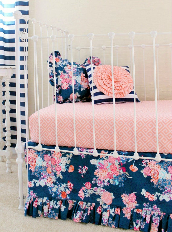 Navy Crib Bedding, Baby Girl Bedding, Navy Coral Nursery, Peach and Navy  Crib Set, Custom Baby Bedding ,Stripe and Floral Nursery Decor - Navy Crib Bedding Baby Girl Bedding Navy Coral Nursery
