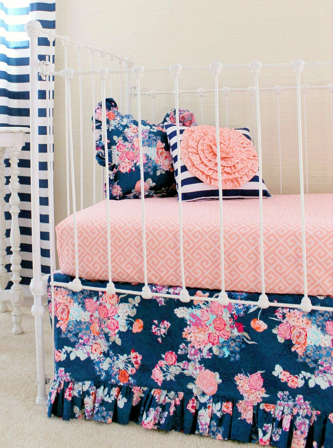 navy floral crib bedding baby girl bedding coral and navy. Black Bedroom Furniture Sets. Home Design Ideas