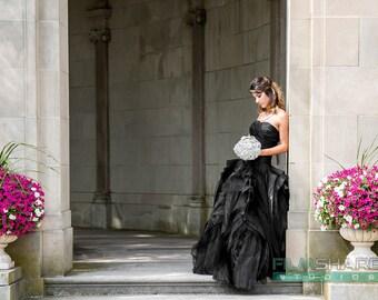Gorgeous Black Wedding Dress with Organza Layers