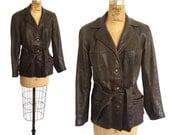 Beautiful 1940s Deerskin Women's Vintage Motorcycle Jacket with Scottish Plaid Wool Lining by Mid-Western Sport Togs
