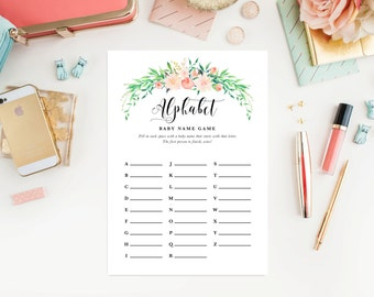 Instant Download - Delicate Bouquet Baby Shower ABC Name Game Cards
