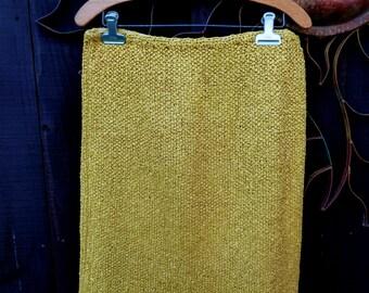Vintage 1950's Golden Yellow Crochet Ribbon Skirt, Unique Vintage Ribbon Skirt, Retro, Mod, Ribbon Pencil Skirt