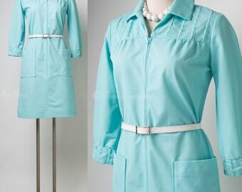 Vintage Blue Dress, 60s Turquoise Dress, Mad Men Dress, Vintage 60s Dress, 60s Blue dress, 60s Shift Dress, Vintage shift dress - S/M