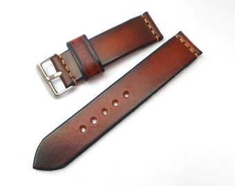 Handmade Leather Watch Strap 18mm 20mm 22mm 24mm Brown Leather Golden stitching