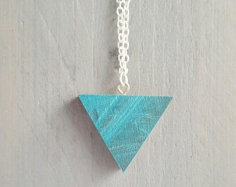 Recycled Skateboard Triangle Necklace