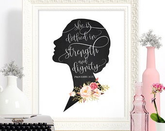 INSTANT DOWNLOAD //  Printable, digital wall art, room decor, housewarming, download // Bible Verse Proverbs Woman Silhouette // #8889ID