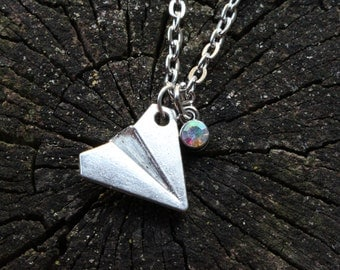 Silver Paper Airplane Necklace ~ 1D/Harry Styles/Taylor Swift Inspired