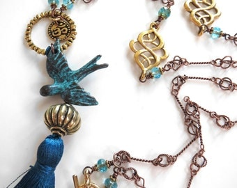 Free Bird Necklace with Aqua Silk Tassel, Gold OM Aum Hindu Buddhist Mala Inspired Necklace, Teal Silk Tassel, Yoga Jewelry, Yoga Necklace